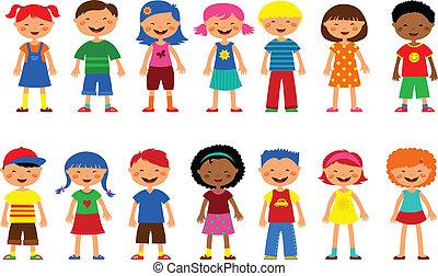 cute, sæt, børn, -, vektor, illustrationer