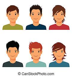 cute, sæt, unge, hår, drenge, adskillige, style.