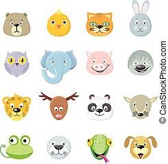 cute, samling, dyr ansigt