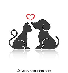 cute, silhuetter, hund, kat