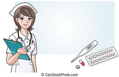 cute, sygeplejerske, medic, unge, cartoon