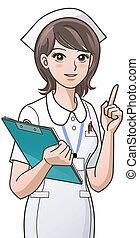 cute, sygeplejerske, oppe, pege