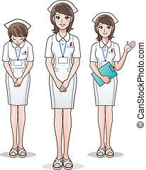 cute, sygeplejerske, sæt, velkom, unge
