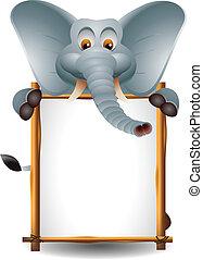 cute, tegn, elefant, blank