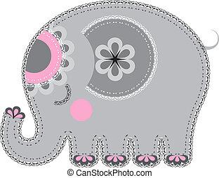 cutout., fabric, dyr, elefant