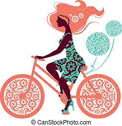cykel, pige, silhuet, smukke