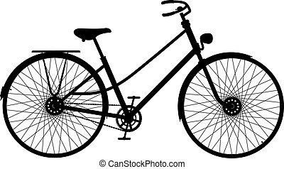 cykel, silhuet, retro
