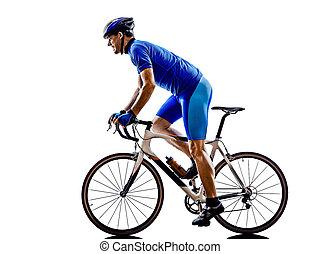 cyklist, silhuet, cykel, vej, cycling