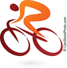 cyklist, vektor, -, illustration, ikon