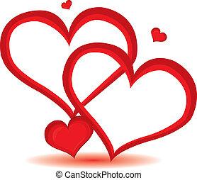 dag, hjerte, valentine, vektor, baggrund., rød, illustration.