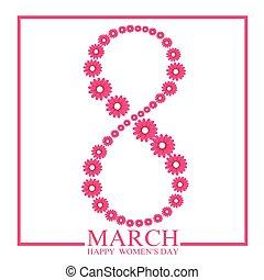 dag, marts, baggrund, 8, womans