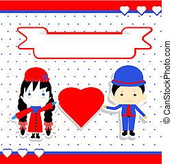 dag, par, illustration, vektor, valentines