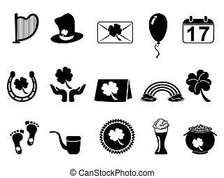 dag, sort, patrick's, helgen, iconerne