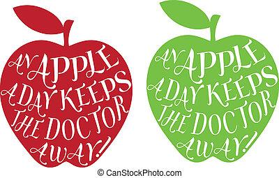 dag, vektor, æble