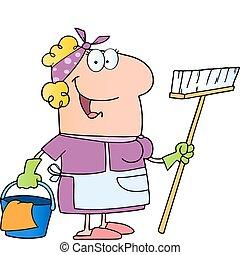 dame, karakter, rensning, cartoon