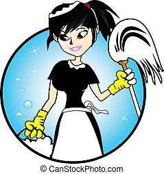 dame, -, rensning, illustration