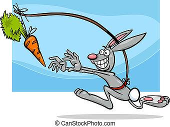 dangling, talemåde, gulerod, cartoon