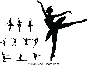 dans, pige, sæt, ballet