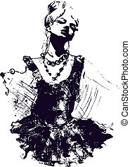 danser pige, illustration