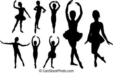dansere, piger, ballet, silhuetter