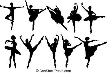 dansere, silhuetter, ballet