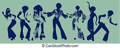 dansere, sjæl, sjæl, disco., time., gilde, eller, funk