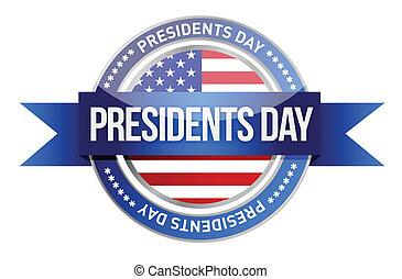 day., præsidents, banner, os, lukke op