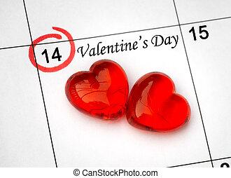 day., side, kalender, hjerter, 14, helgen, rød, valentines, februar