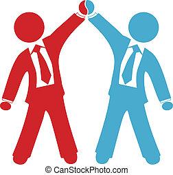 deal, folk branche, aftalen, held, fejre