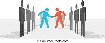 deal, folk, hænder, to, enes, omryste, sider