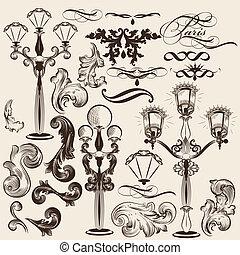 decorati, vektor, sæt, calligraphic