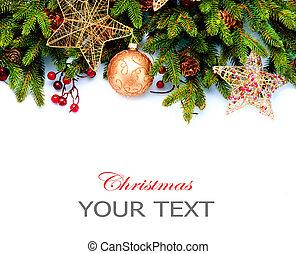 decoration., isoleret, baggrund., konstruktion, dekorationer, hvid, ferie, grænse, jul