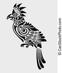 decoration., papegøje, ornamentere, blomstrede