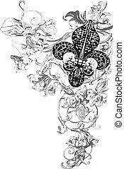 dekoration, af, fleur, læsider