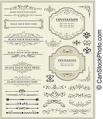 dekoration, elementer, konstruktion, side, calligraphic