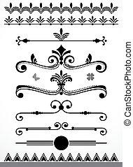 dekoration, elementer, side