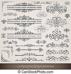 dekoration, elementer, side, calligraphic