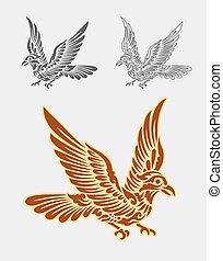 dekoration, flyve, ornamentere, fugl