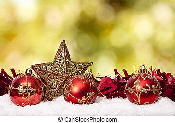 dekoration, fond, traditionelle, jul, ferier