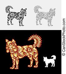 dekoration, mønster, ornamentere, hund