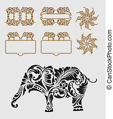 dekoration, ornamentere, elefant