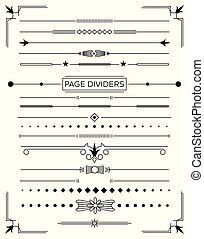 dekorativ konstruktion, dividers, sæt, retro, side, elements.
