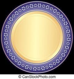 dekorativ plade, violet-golden
