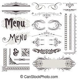 dekorative elementer, og, calligraphic, vektor, konstruktion, dekorationer, udsmykket, side