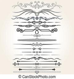 dekorative elementer, vektor, regel, lines., konstruktion
