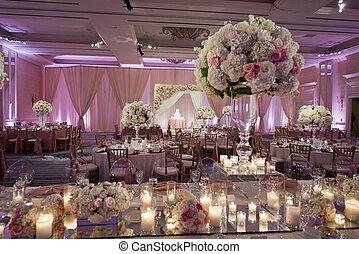 dekorer, beautifully, balsal, bryllup