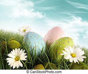 dekorere åg, græs, påske, daisies