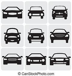 denne, farve, luksus, graphic., imod, symboler, side, kompakt, view-, icons(signs), vektor, forside, automobilen, illustration, sort baggrund, det gengi'r, hvid, car's, ni, passager