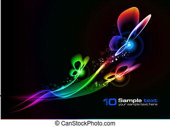 design., abstrakt, vektor, butterfly.
