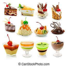 dessert, delicous, hvid, isoleret, samling